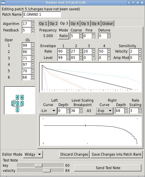 hexter Yamaha DX7 modeling DSSI plugin